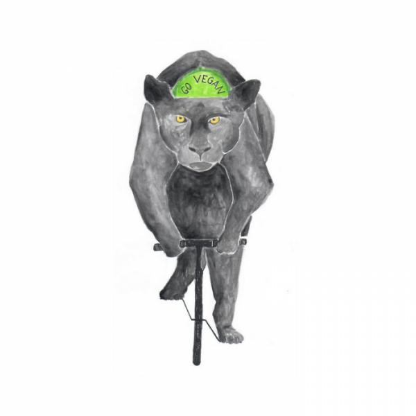 Panther auf Fahrrad, Rennrad, Go Vegan, Veganismus und Verzicht