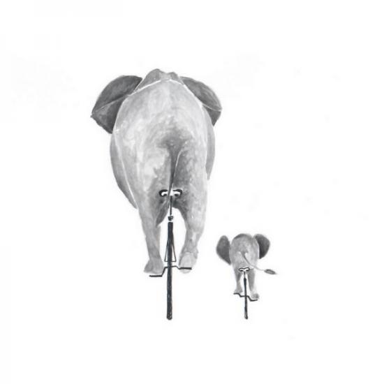 Elefanten auf Fahrrädern von hinten, großer Elefant und kleiner Elefant