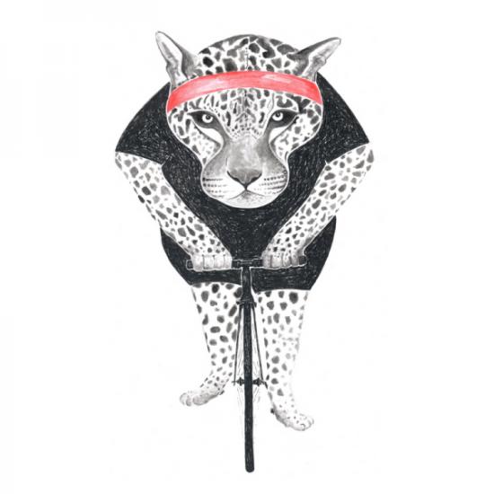 Leopard-Fahrrad-Bike-Standert-Feierabendrunde-Rennrad-Illustration-Zeichnung
