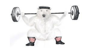 Eisbär macht im Fitnessstudio Kniebeugen mit Gewicht um seine Muskeln für das Radfahren zu trainieren