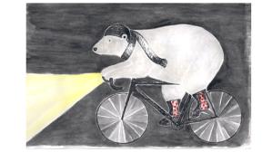Eisbär auf Fahrrad, Rennrad im Winter, Mütze und Schal gegen die Kälte, Licht gegen die Dunkelheit
