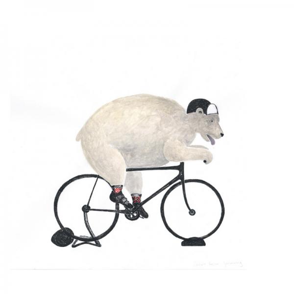 Eisbär auf Fahrrad-Rennrad-Hometrainer