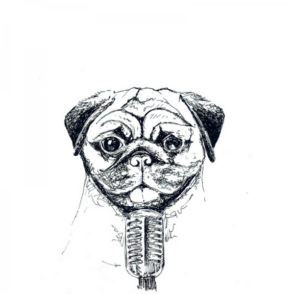 Mops-Mikrofon-Zeichnung-Illustration