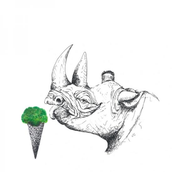 Nashorn-rhino-leckt-Eis-Zunge-Eistüte-Brokkoli-Illustration-Zeichnung
